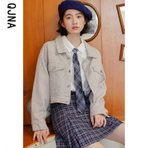 short coat Winter 2020 S M L Grey white Long sleeves have cash less than that is registered in the accounts routine singleton  Straight cylinder commute routine Polo collar Single breasted Solid color 18-24 years old Qingjiaona 96% and above Button QJN9810 other Other 100%