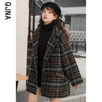 woolen coat Winter 2020 S M L XL Blue and black other 95% and above routine Long sleeves commute double-breasted routine tailored collar lattice Straight cylinder Korean version QJN8228 Qingjiaona 18-24 years old Button Solid color Other 100% Pure e-commerce (online only)