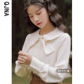 shirt Apricot S M L Spring 2021 other 96% and above Long sleeves commute Regular Doll Collar Single row multi button shirt sleeve Solid color 18-24 years old Straight cylinder Qingjiaona Korean version QJN2688 bow Other 100% Pure e-commerce (online only)
