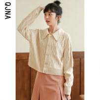short coat Winter 2020 S M L Apricot purple Long sleeves routine routine singleton  Straight cylinder commute routine Polo collar Single breasted Solid color 18-24 years old Qingjiaona 96% and above QJN8773 other Other 100% Pure e-commerce (online only)