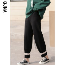 Casual pants Black light grey dark grey Average size Winter 2020 Cropped Trousers loose  Natural waist commute routine 18-24 years old 96% and above QJN9866 Qingjiaona Korean version Other 100% Pure e-commerce (online only)