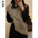 Vest Spring 2021 Oatmeal Brown S M L routine Crew neck commute Solid color No buckle QJN9036 I-shaped 18-24 years old Qingjiaona 96% and above other Hollowing out Other 100% Pure e-commerce (online only)