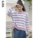 sweater Winter 2020 S M L Black Pink Long sleeves Socket singleton  Regular other 95% and above Crew neck Regular commute routine stripe Straight cylinder Regular wool Keep warm and warm 18-24 years old Qingjiaona Other 100% Pure e-commerce (online only)