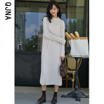 Dress Winter of 2019 Average size Mid length dress singleton  Long sleeves commute Crew neck middle-waisted One pace skirt routine Others 18-24 years old Qingjiaona Korean version More than 95% other Other 100% Pure e-commerce (online only)
