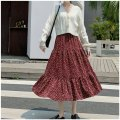skirt Spring 2021 One size fits 80-135kg Wave point (white wave point), wave point (yellow wave point), wave point (red wave point), broken flower (blue), broken flower (red) Mid length dress High waist A-line skirt Stitching, printing