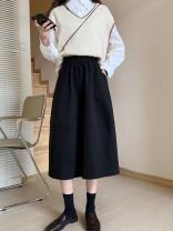 skirt Winter 2020 Average size Black, brown Mid length dress commute High waist A-line skirt Solid color Type A 18-24 years old More than 95% Other / other other pocket Korean version
