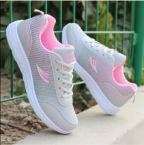 Low top shoes 35,36,37,38,39,40 Other / other 1800 pink, 1800 Grey Pink, 1800 grey blue Round head PVC chemical fiber Flat bottom Flat heel (1cm or less) Shallow mouth Two layer pigskin Summer 2020 Frenulum leisure time lattice EVA Net shoes Color matching