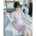Dress Summer 2021 lattice S M L XL Mid length dress singleton  Short sleeve commute V-neck High waist lattice Socket A-line skirt routine Others 25-29 years old Type A Tong Shiyao lady fold 81% (inclusive) - 90% (inclusive) polyester fiber Polyester 90% other 10%