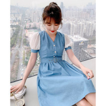 Dress Summer 2021 blue S M L XL Short skirt singleton  Short sleeve commute V-neck High waist Solid color Single breasted A-line skirt bishop sleeve Others 25-29 years old Type A Tong Shiyao Simplicity Button mesh stitching 81% (inclusive) - 90% (inclusive) polyester fiber Polyester 90% other 10%