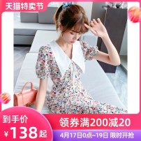 Dress Summer 2021 Floral skirt S M L XL Mid length dress singleton  Short sleeve commute Polo collar High waist Broken flowers Socket A-line skirt routine Others 25-29 years old Type A Tong Shiyao lady Ruffle printing TSY21X5028 81% (inclusive) - 90% (inclusive) Chiffon polyester fiber