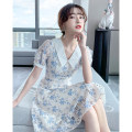 Dress Summer 2021 white S M L XL Mid length dress singleton  Short sleeve commute Polo collar High waist Broken flowers Three buttons A-line skirt routine Others 25-29 years old Type A Tong Shiyao lady Cut out button printing TSY21X9100 81% (inclusive) - 90% (inclusive) Chiffon polyester fiber