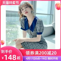 Dress Summer 2021 Blue Plaid Skirt S M L XL Mid length dress singleton  Short sleeve commute other High waist lattice Single breasted A-line skirt raglan sleeve Others 25-29 years old Type A Tong Shiyao Retro Ruffle button TSY21X9084 81% (inclusive) - 90% (inclusive) polyester fiber