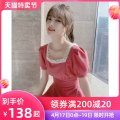 Dress Spring 2021 rose red S M L XL Middle-skirt singleton  Short sleeve commute square neck High waist Solid color Socket A-line skirt puff sleeve Others 25-29 years old Type A Tong Shiyao lady Lotus leaf edge TSY21X9090 81% (inclusive) - 90% (inclusive) polyester fiber Polyester 90% other 10%