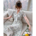 Dress Summer 2021 Floral skirt S M L XL Mid length dress singleton  Short sleeve commute V-neck High waist Decor Socket Big swing other Others 25-29 years old Type A Tong Shiyao lady Bow and ruffle with lace up TSY21X9804 81% (inclusive) - 90% (inclusive) Chiffon polyester fiber