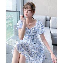 Dress Summer 2021 blue S M L XL Mid length dress singleton  Short sleeve commute square neck High waist Broken flowers Socket A-line skirt puff sleeve Others 25-29 years old Type A Tong Shiyao Simplicity fold TSY21X9047 81% (inclusive) - 90% (inclusive) Chiffon polyester fiber Polyester 90% other 10%
