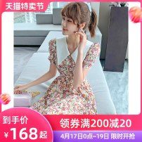 Dress Summer 2021 Floral skirt S M L XL Mid length dress singleton  Short sleeve commute Polo collar High waist Broken flowers Socket A-line skirt routine Others 25-29 years old Type A Tong Shiyao literature printing TSY21X5026 81% (inclusive) - 90% (inclusive) Chiffon polyester fiber