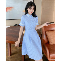 Dress Summer 2021 blue S M L XL Mid length dress singleton  Short sleeve commute other High waist lattice Single breasted A-line skirt routine Others 25-29 years old Type A Tong Shiyao literature Patchwork button lace TSY21X6001a 81% (inclusive) - 90% (inclusive) polyester fiber