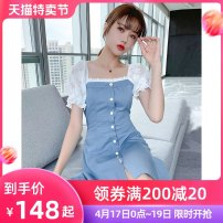 Dress Summer 2021 blue S M L XL Mid length dress singleton  Short sleeve commute square neck High waist Solid color Socket A-line skirt puff sleeve Others 25-29 years old Type A Tong Shiyao literature Lace TSY21X5347 81% (inclusive) - 90% (inclusive) polyester fiber Polyester 90% other 10%