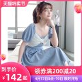 Dress Summer 2021 blue S M L XL Mid length dress singleton  Short sleeve commute square neck High waist Solid color zipper A-line skirt puff sleeve Breast wrapping 25-29 years old Type A Tong Shiyao lady TSY21X9004 81% (inclusive) - 90% (inclusive) polyester fiber Polyester 90% other 10%