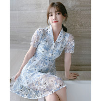 Dress Summer 2021 blue S M L XL Mid length dress singleton  Short sleeve commute Polo collar High waist Decor Single breasted A-line skirt puff sleeve Others 25-29 years old Type A Tong Shiyao lady Screen printing of hollow button TSY21X9115 81% (inclusive) - 90% (inclusive) polyester fiber