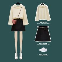 Dress Winter of 2019 S,M,L Short skirt Two piece set Long sleeves commute High collar High waist Solid color Socket other routine Others 18-24 years old Type A Other More than 95% other