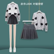 Fashion suit Autumn 2020 S,M,L,XL Grey suit, white suit, grey single sweater, white single sweater, grey single skirt 18-25 years old Other / other JFL2F132-9181