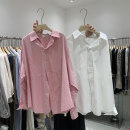 shirt white , green , Pink , [quality assurance of source] Average size Spring 2021 cotton 91% (inclusive) - 95% (inclusive) Long sleeves Versatile Regular stand collar Single row multi button routine Solid color 25-29 years old Straight cylinder Button