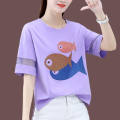T-shirt White, purple, khaki, red M,L,XL,2XL,3XL Summer 2021 Short sleeve Crew neck easy have cash less than that is registered in the accounts routine commute cotton 96% and above Korean version science fiction Letters, solid color Short sleeve kk51 Prints, sequins, bandages