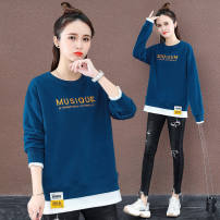 Sweater / sweater Spring 2021 Blue, yellow, red, pink, orange M,L,XL,2XL,3XL Long sleeves routine Socket singleton  routine Crew neck easy commute routine Solid color 30% and below Korean version cotton Long sleeve 68 Printing, stitching, embroidery cotton Cotton liner