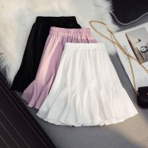 skirt Summer 2021 S is suitable for 75-95 body weight, M is suitable for 95-115 body weight, l is suitable for 115-125 body weight, XL is suitable for 125-140 body weight Black, white, pink Short skirt Versatile High waist A-line skirt Solid color Type A 911-2021 91% (inclusive) - 95% (inclusive)