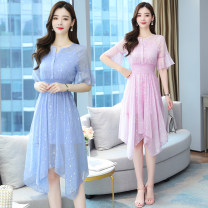 Dress Spring 2021 Light blue, pink S,M,L,XL,2XL longuette Two piece set elbow sleeve commute V-neck middle-waisted Decor Socket Irregular skirt routine Others Type A Korean version printing 8175# 91% (inclusive) - 95% (inclusive) Chiffon