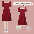 Dress / evening wear wedding L XL 2XL 3XL 4XL Red dress Sweet longuette High waist Winter 2016 A-line skirt 18-25 years old XHA-3F031-108 Short sleeve Solid color Hin coast routine Other 100% Pure e-commerce (online only)
