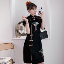 cheongsam Summer 2021 M L XL 2XL 3XL 4XL Black Embroidered cheongsam dress Short sleeve Short cheongsam Retro Low slit daily Oblique lapel Solid color 18-25 years old Piping XHA-3F072-7056 Hin coast other Other 100% Pure e-commerce (online only)