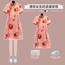 cheongsam Summer 2021 M L XL 2XL 3XL 4XL Red cheongsam dress Short sleeve Short cheongsam Retro Low slit daily Oblique lapel Decor 18-25 years old Piping XHA - 3F056 - nine hundred and thirty-four Hin coast other Other 100% Pure e-commerce (online only) 96% and above