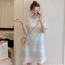 cheongsam Summer 2021 M L XL 2XL 3XL 4XL Light blue cheongsam dress Short sleeve Short cheongsam Retro No slits daily Oblique lapel 18-25 years old Piping XHA-4F033-1881 Hin coast other Other 100% Pure e-commerce (online only) 81% (inclusive) - 90% (inclusive)