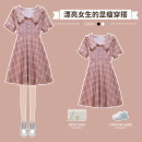 Women's large Summer 2021 Purple Plaid Dress Large L Large XL Large 2XL large 3XL large 4XL Dress singleton  commute easy moderate Socket Short sleeve lattice lady V-neck cotton Three dimensional cutting routine XHA-3F033-6103 Hin coast 18-24 years old Button longuette Other 100%