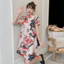 cheongsam Summer 2021 M L XL 2XL 3XL 4XL Guochao cheongsam dress Short sleeve Short cheongsam Retro No slits daily Oblique lapel Decor 18-25 years old Piping XHA-2F023-846 Hin coast other Other 100% Pure e-commerce (online only)