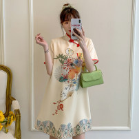 cheongsam Summer 2021 M L XL 2XL 3XL 4XL Short sleeve Short cheongsam court No slits daily Oblique lapel Decor 18-25 years old Piping Hin coast other Other 100% Pure e-commerce (online only)