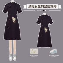cheongsam Summer 2021 M L XL 2XL 3XL 4XL Black cheongsam dress Short sleeve long cheongsam Retro No slits daily Square placket Solid color 18-25 years old Piping XHA - 4F091 - six thousand one hundred and thirty-two Hin coast other Other 100% Pure e-commerce (online only)