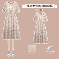 Women's large Summer 2021 white Large L Large XL Large 2XL large 3XL large 4XL Dress singleton  commute easy thin Socket Short sleeve Broken flowers Korean version V-neck Medium length polyester Three dimensional cutting pagoda sleeve XHA-3F137-8046 Hin coast Medium length Other 100%