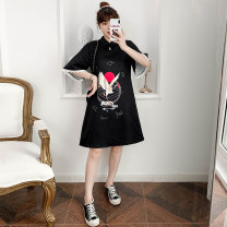 cheongsam Summer 2021 M L XL 2XL 3XL 4XL Black Guochao cheongsam dress Short sleeve Short cheongsam ethnic style No slits daily Ruyi lapel Animal design 18-25 years old Piping XHA-4F033-818 Hin coast cotton Cotton 96% other 4% Pure e-commerce (online only) 96% and above