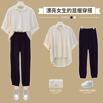 Women's large Summer 2021 Red striped top blue striped top black casual pants red two piece suit blue two piece suit Large XL Large 2XL large 3XL large 4XL large 5XL Other oversize styles Two piece set commute easy thin Socket elbow sleeve stripe V-neck routine polyester Three dimensional cutting