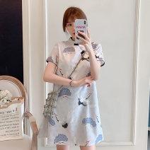 cheongsam Summer 2021 M L XL 2XL 3XL 4XL Blue cheongsam dress Short sleeve Short cheongsam grace No slits daily Ruyi lapel Decor 18-25 years old Piping XHA-3F072-8027 Hin coast other Other 100% Pure e-commerce (online only)