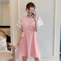 cheongsam Summer 2021 M L XL 2XL 3XL 4XL Pink cheongsam dress blue cheongsam dress Short sleeve Short cheongsam Retro No slits daily Round lapel Solid color 18-25 years old Piping XHA-2F023-819 Hin coast other Other 100% Pure e-commerce (online only)