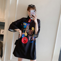 cheongsam Summer 2021 M L XL 2XL 3XL 4XL Black Guochao Qipao Long sleeves Short cheongsam court No slits daily Round lapel Cartoon animation 18-25 years old Piping XHA-2F023-181 Hin coast other Other 100% Pure e-commerce (online only)
