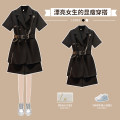 Women's large Summer 2021 Black two piece suit M large L Large XL Large 2XL large 3XL large 4XL Other oversize styles Two piece set commute easy moderate Cardigan Short sleeve Solid color Korean version Polo collar routine polyester Three dimensional cutting routine XHA-1F092-8746 Hin coast belt