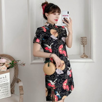 cheongsam Summer 2021 M L XL 2XL 3XL 4XL Black Guochao cheongsam dress Short sleeve Short cheongsam ethnic style Low slit daily Oblique lapel Decor 18-25 years old Piping XHA-4F033-810 Hin coast other Other 100% Pure e-commerce (online only)