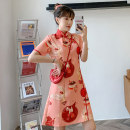 cheongsam Summer 2021 M L XL 2XL 3XL 4XL Colorful cheongsam dress Short sleeve Short cheongsam Retro Low slit daily Oblique lapel Decor 18-25 years old Piping XHA-2F023-828 Hin coast other Other 100% Pure e-commerce (online only) 31% (inclusive) - 50% (inclusive)