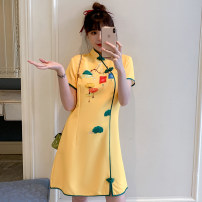 cheongsam Summer 2021 M L XL 2XL 3XL 4XL Yellow cheongsam dress Short sleeve Short cheongsam Retro No slits daily Oblique lapel Solid color 18-25 years old Piping XHA-2F023-834 Hin coast other Other 100% Pure e-commerce (online only)
