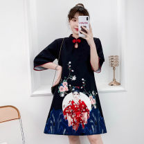 cheongsam Summer 2021 M L XL 2XL 3XL 4XL Black Guochao cheongsam dress Short sleeve Short cheongsam grace No slits daily Oblique lapel lattice 18-25 years old Piping XHA-4F033-5035 Hin coast cotton Cotton 96% other 4% Pure e-commerce (online only) 96% and above